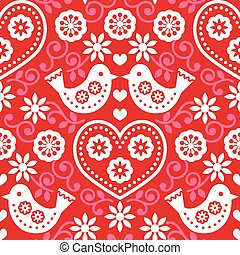 Folk art red seamless pattern