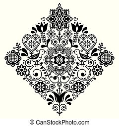 Folk art retro square vector pattern with birds and flowers, Scandinavian black and white symmetric design