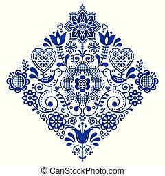 Folk art retro square vector pattern with birds and flowers, Scandinavian navy blue symmetric design