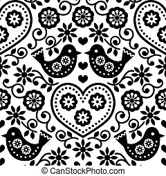 Folk art seamless monochrome patt - Repetitive background -...