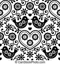 Folk art seamless monochrome patt - Repetitive background -...