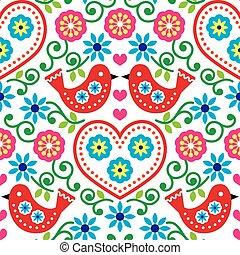 Folk art seamless pattern - birds - Repetitive background -...