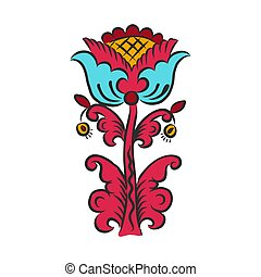 folk art style botanical floral fantasy flowers and Botanical print. vector illustration