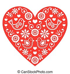 Folk art Valentine's Day heart - Vector red folk heart with...
