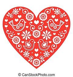 Folk art Valentine's Day heart - Vector red folk heart with...