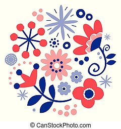 Folk art vector floral greeting card design, round pattern with flowers Scandinavian, hand drawn style in red and navy blue