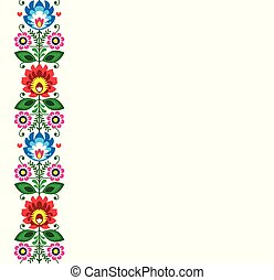 Folk art vector greeting card or wedding invitation - Polish traditional pattern with flowers - Wycinanki Lowickie