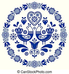 Folk art vector round ornamental frame with birds, hearts, and flowers, Scandinavian design in circle, floral composition