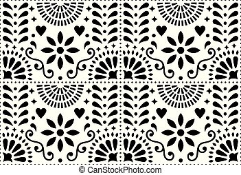 Folk art vector seamless pattern, Mexican black and white design with flowers inspired by traditional art form Mexico