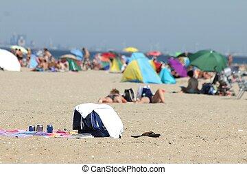 folk, avkopplande, stranden