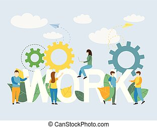 folk branche, arbejde, stand, brev, hold