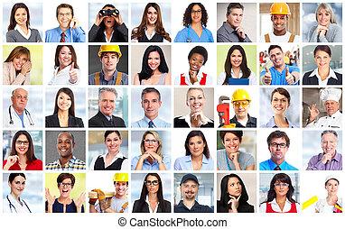 folk branche, arbejdere, ansigter, collage.