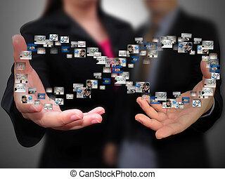 folk branche, holde, sociale, medier