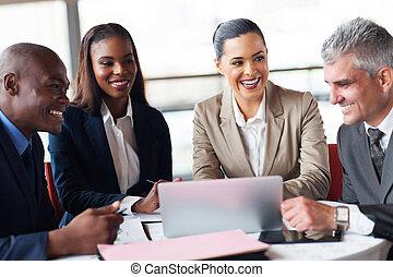 folk branche, ind, en, møde, hos, kontor
