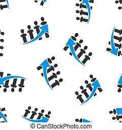 folk branche, karriere, mønster, concept., seamless, illustration, isoleret, baggrund., vektor, pil, optræden, hvid, ikon