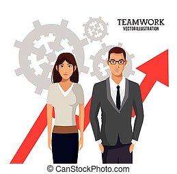 folk branche, kort, tilvækst, teamwork, det gears