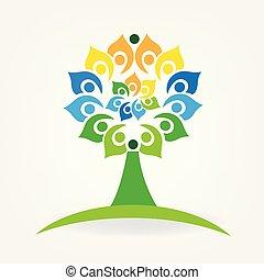 folk branche, træ, enhed, vektor, logo, identifikation card, ikon
