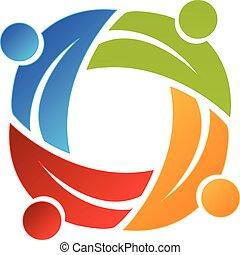 folk branche, vektor, teamwork, det leafs, logo, card