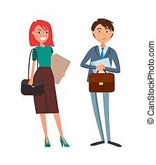 folk, businesswoman, firma, forretningsmand
