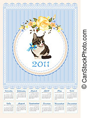 folk calendar 2011 with cat  and roses