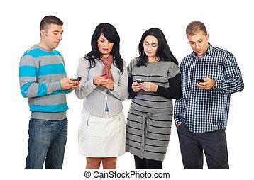 folk, cellphones, grupp, användande