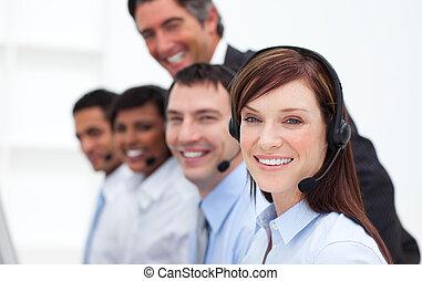 folk, centrera, positiv, affär, arbete, ringa