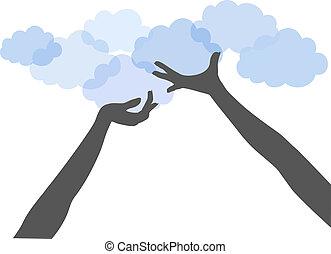 folk, computing, oppe, hænder, greb, sky