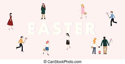 folk, czech, forår, moderne, slovak, konstruktion, pisk, væv, banner., concept., familie, piger, påske, europæisk, lejlighed, farverig, drenge, tradition., chasing, illustration., gå., vektor, eggs.