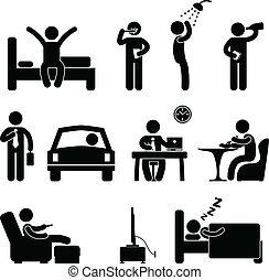 folk, daglige, tegn, rutine, ikon, mand