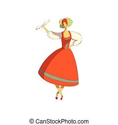 Folk dance concept. Dancing woman on white background.