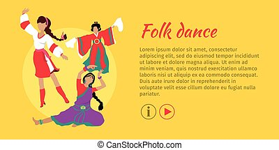 Folk Dance Conceptual Flat Style Vector Web Banner