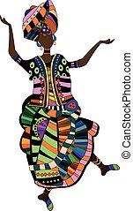 folk dance - woman in ethnic style dancing his beautiful...
