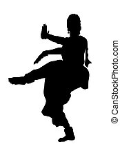 Black silhouette of dancer from india isolate