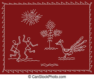 Folk Dancers Tribal Design, Motif, Wall Painting