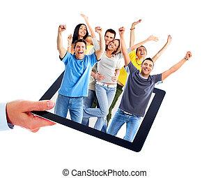 folk., dator, grupp, kompress, lycklig