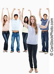 folk, deres, arme rejste, jeans