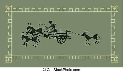 Folk Design Bullock Cart Vector Art
