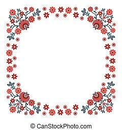 Folk design - Folk Design With Flower-label