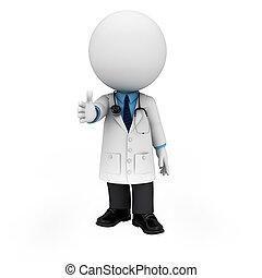 folk, doktor, 3, hvid