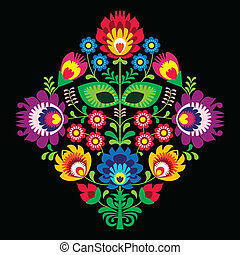 Folk embriofory with flowers - Decorative traditional vector...