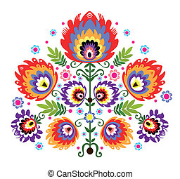 Folk Embroidery Flowers - polish folk traditional design