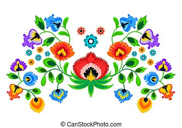 Folk embroidery ornament with flowers. Traditional authentic...