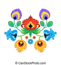 Folk embroidery ornament with flowers. Traditional polish...