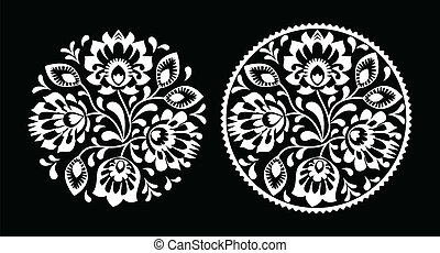 Folk embroidery with flowers black - Decorative traditional...