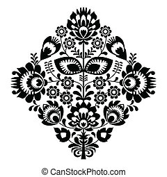 Decorative traditional vector black pattern set - paper catouts style isolated on white