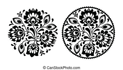 Folk embroidery with flowers