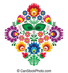 Folk embroidery with flowers patern - Decorative traditional...
