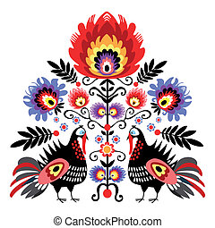 Folk Embroidery With Turkeys