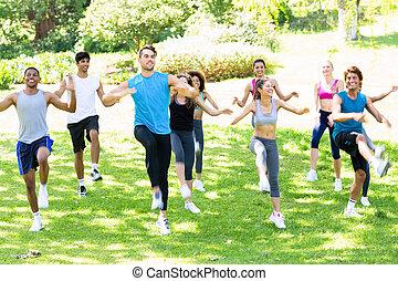 folk, exercerande, i parken