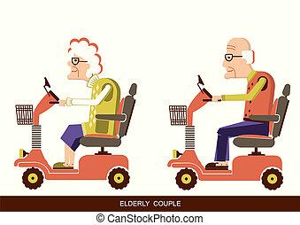 folk, färd, gammal, rörlighet, sparkcykel